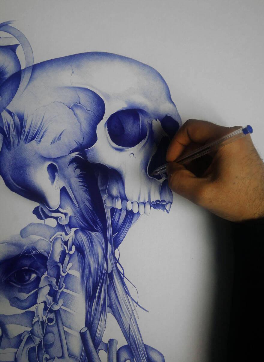 Франсис, рисунок шариковой ручкой