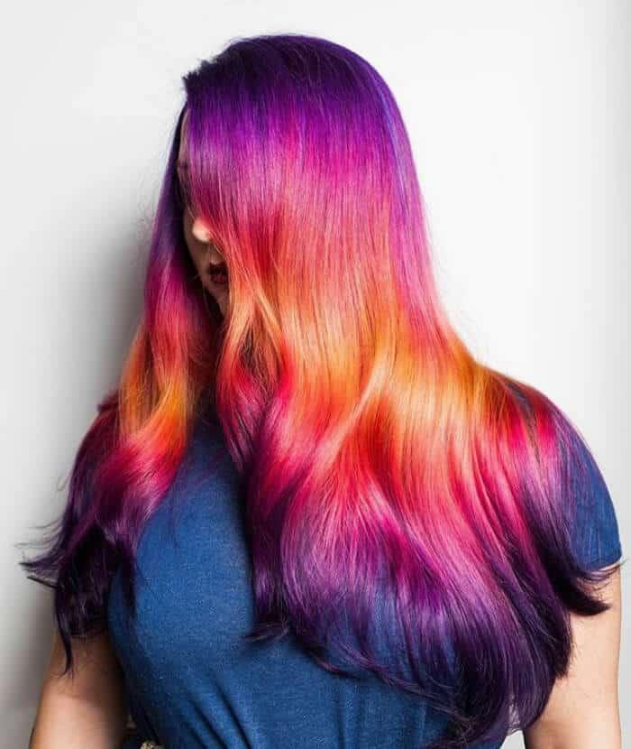 Радужный градиент – новый тренд окрашивания волос