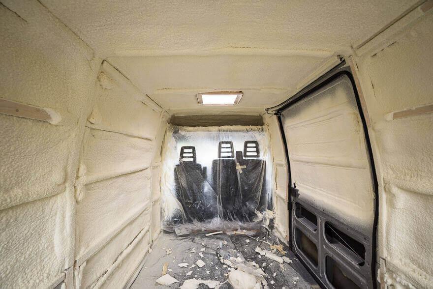 дом на колесах из фургона, утепление