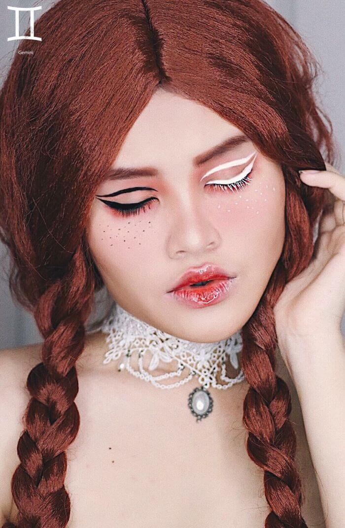 макияж вдохновленный знаком Близнецы