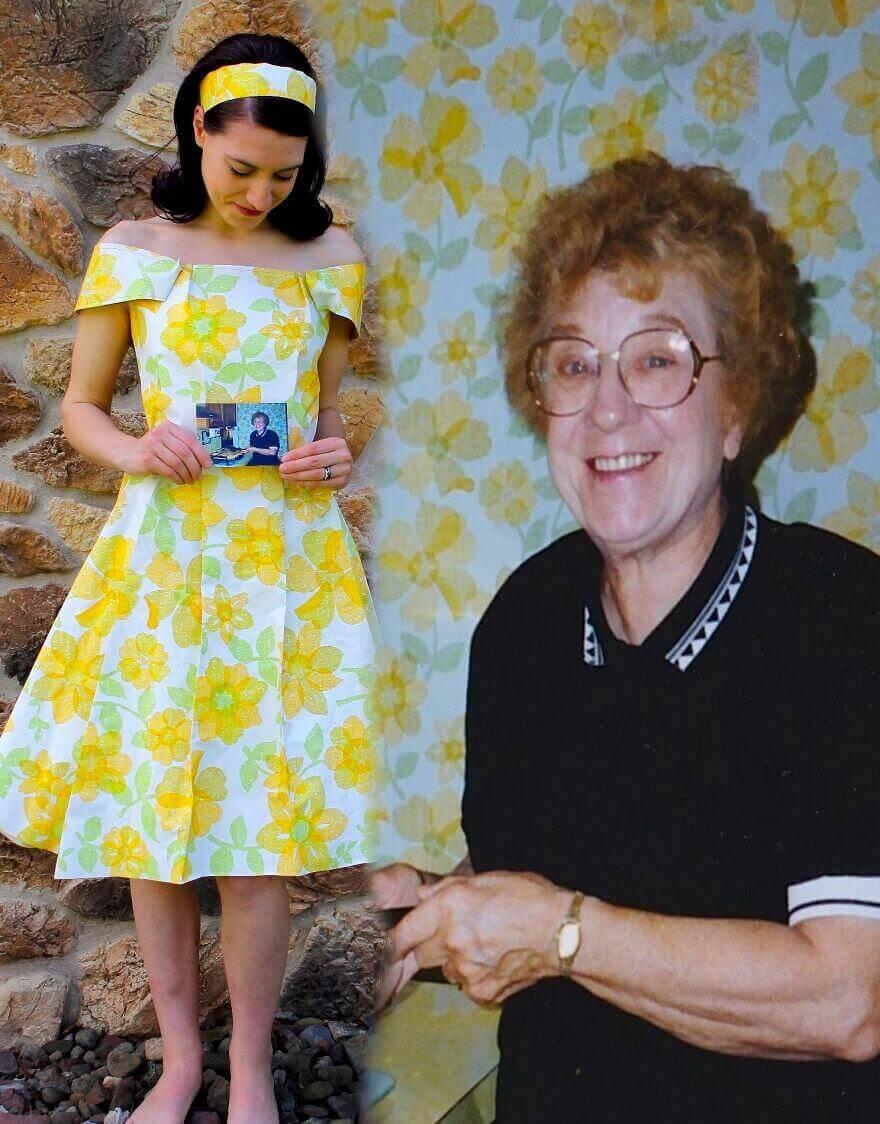 Платье из обои с цветами