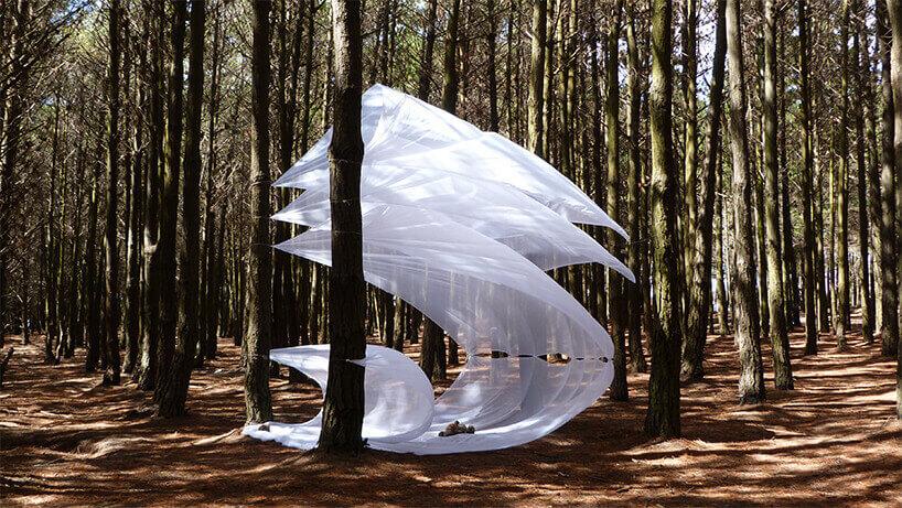 скульптуры с помощью ткани и ветра