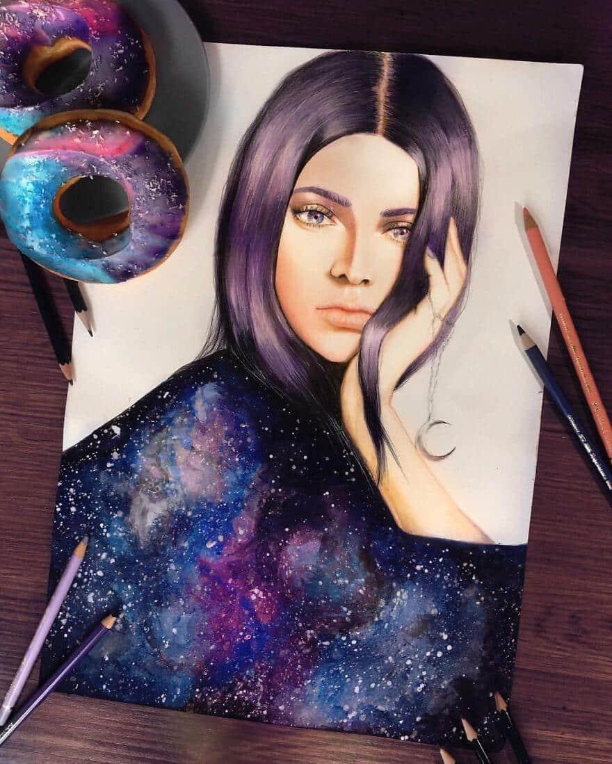 Реалистичные портреты знаменитостей цветными карандашами