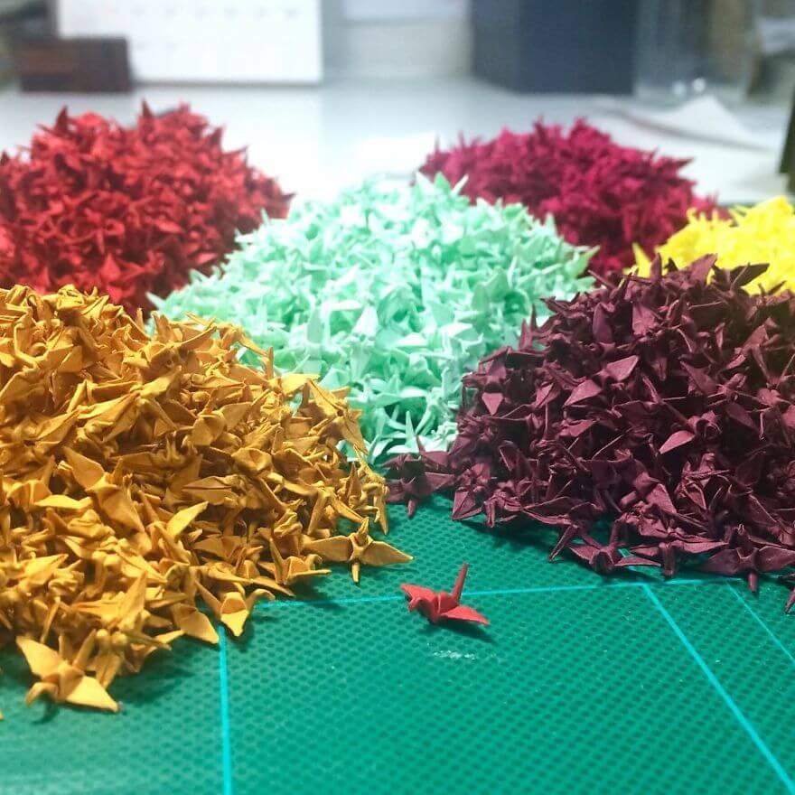 бонсай из крохотных оригами