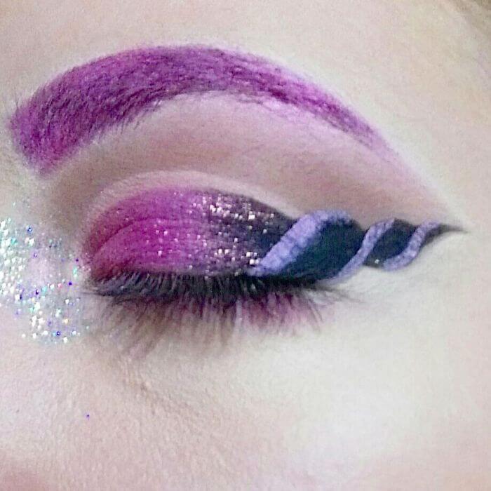 макияж глаз в форме рога единорога, фото 13