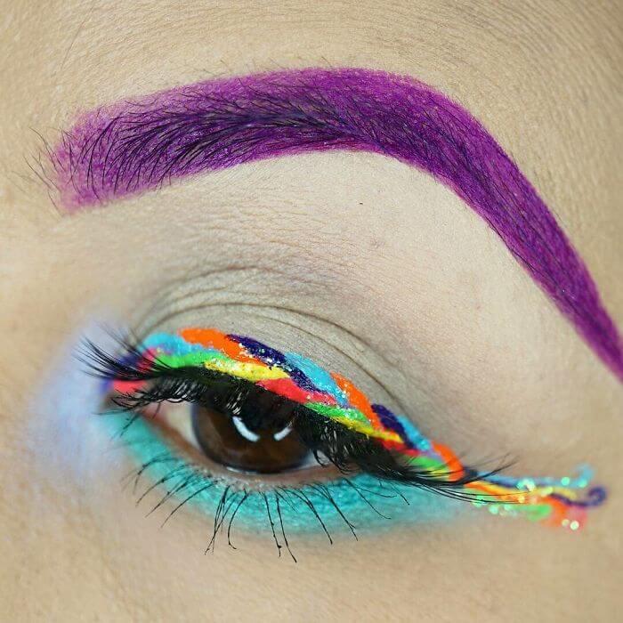 макияж глаз в форме рога единорога, фото 18