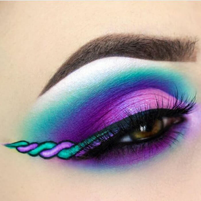 макияж глаз в форме рога единорога, фото 3