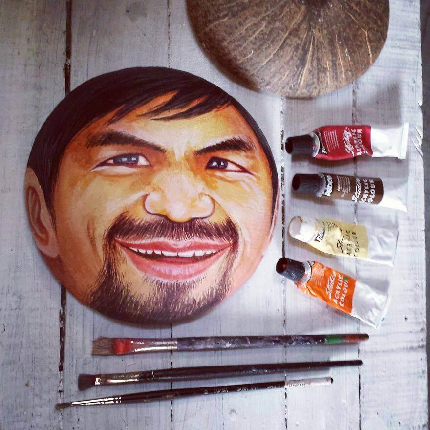 Рисунки на кокосе, фото 5