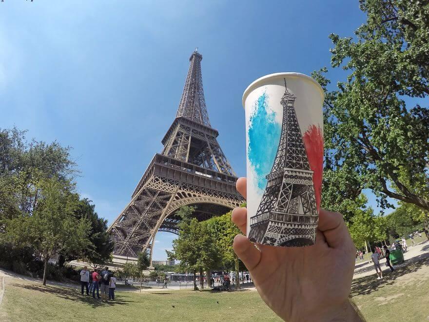достопримечательности мира в рисунках на стаканчиках, фото 1