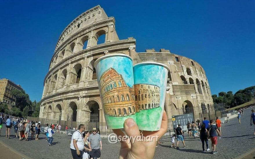 достопримечательности мира в рисунках на стаканчиках, фото 11