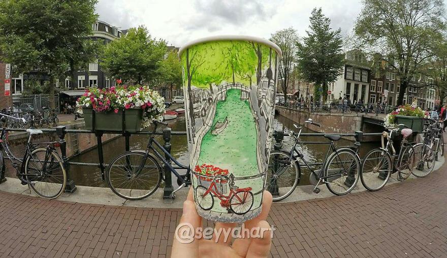 достопримечательности мира в рисунках на стаканчиках, фото 3