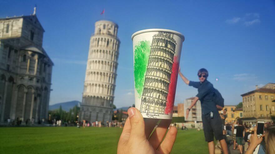 достопримечательности мира в рисунках на стаканчиках, фото 4