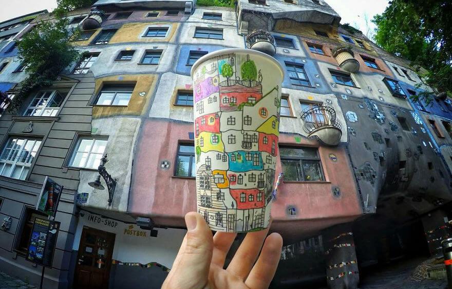 достопримечательности мира в рисунках на стаканчиках, фото 5