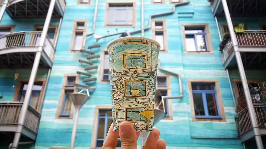 достопримечательности мира в рисунках на стаканчиках, фото 8