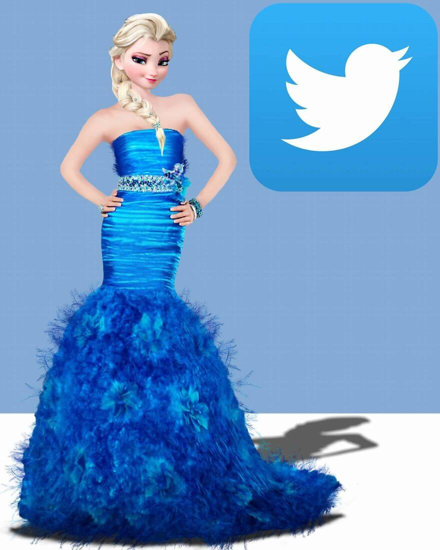 совмещение социальных сети с диснеевскими принцессами, фото 5 Twitter