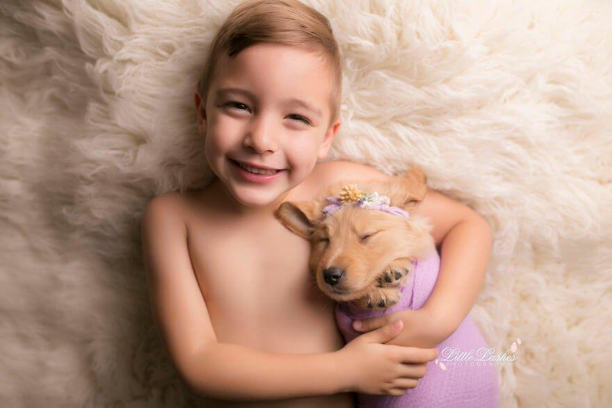 Детская фотосессия со щенком, фото 4