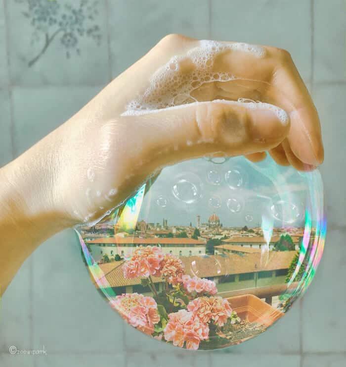 совмещение мыльных пузырей и цветов, фото 1