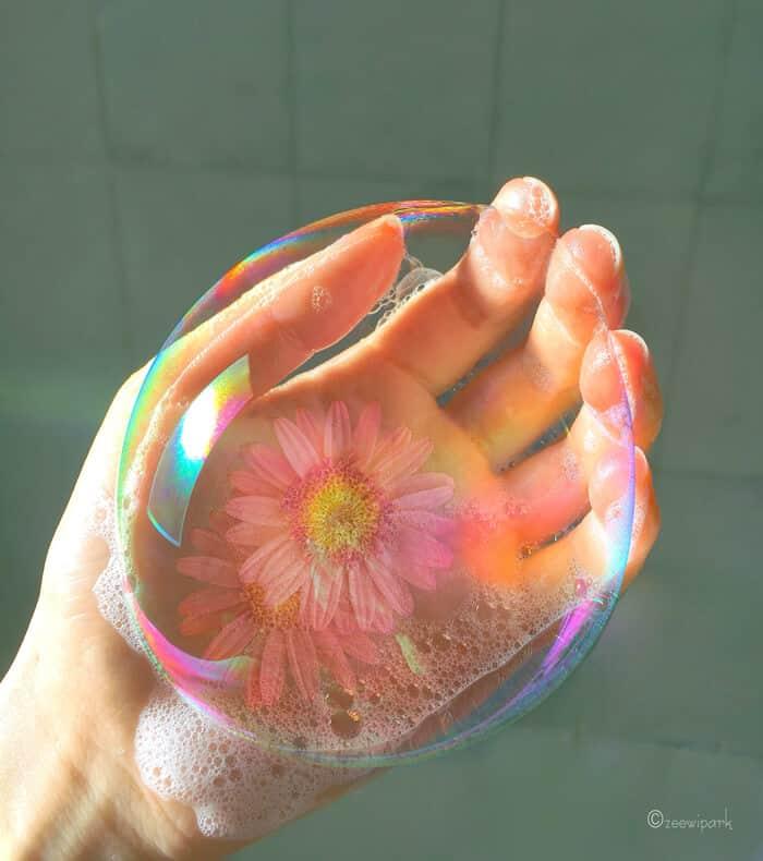 совмещение мыльных пузырей и цветов, фото 10