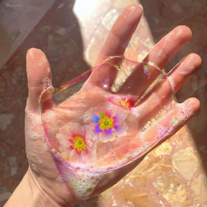 совмещение мыльных пузырей и цветов, фото 13