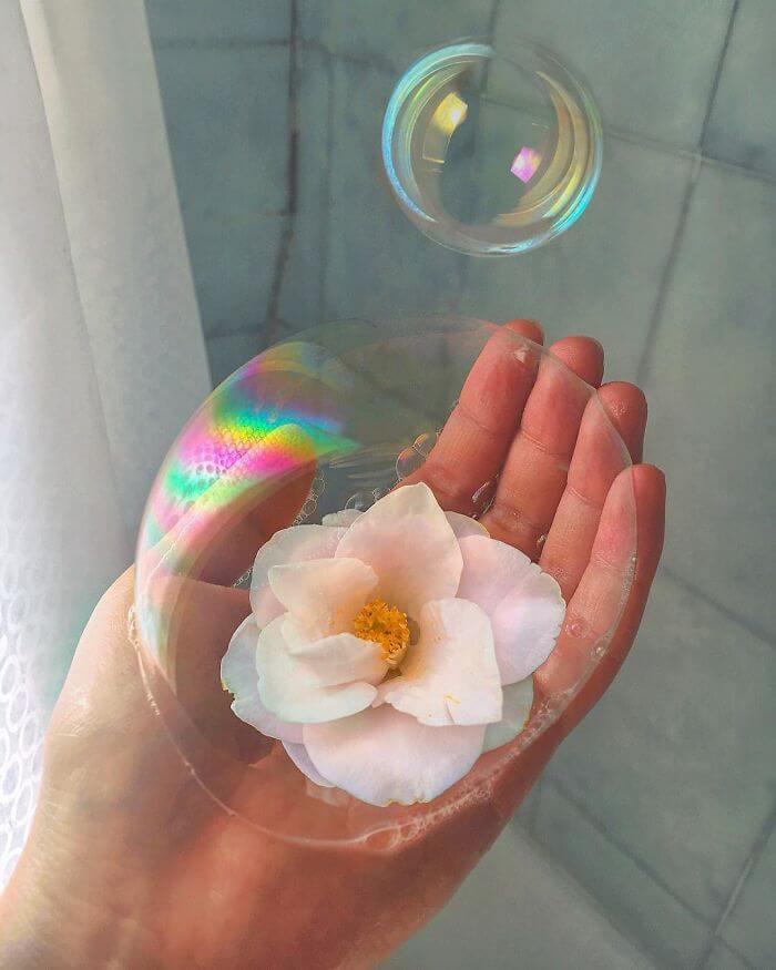 совмещение мыльных пузырей и цветов, фото 14