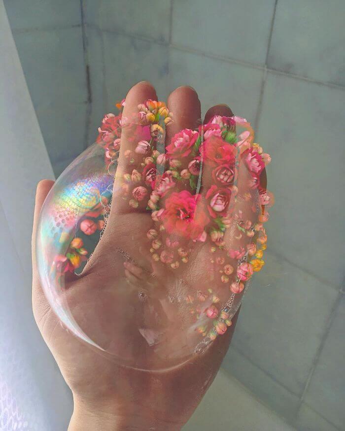 совмещение мыльных пузырей и цветов, фото 15