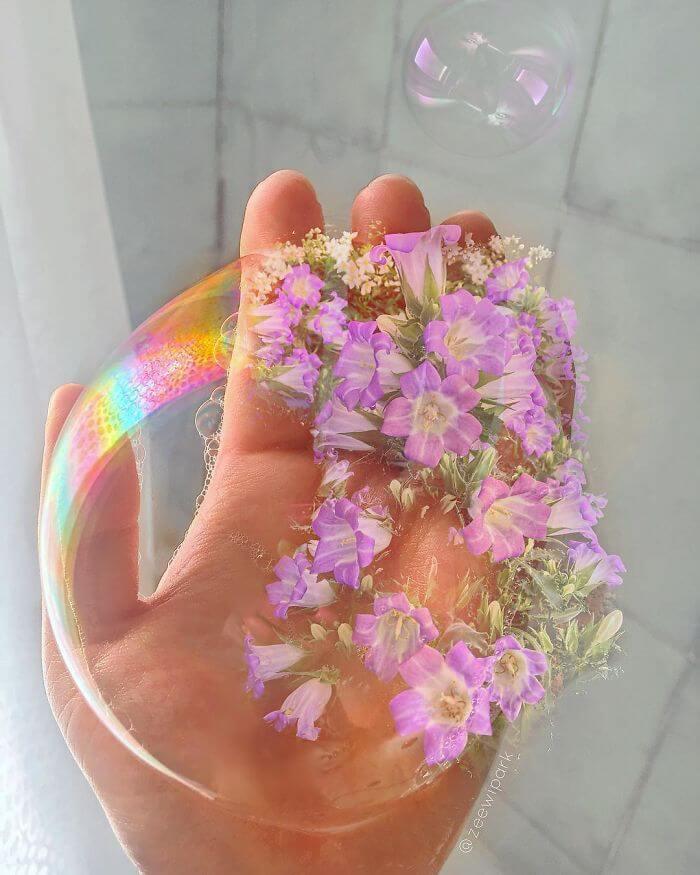 совмещение мыльных пузырей и цветов, фото 17