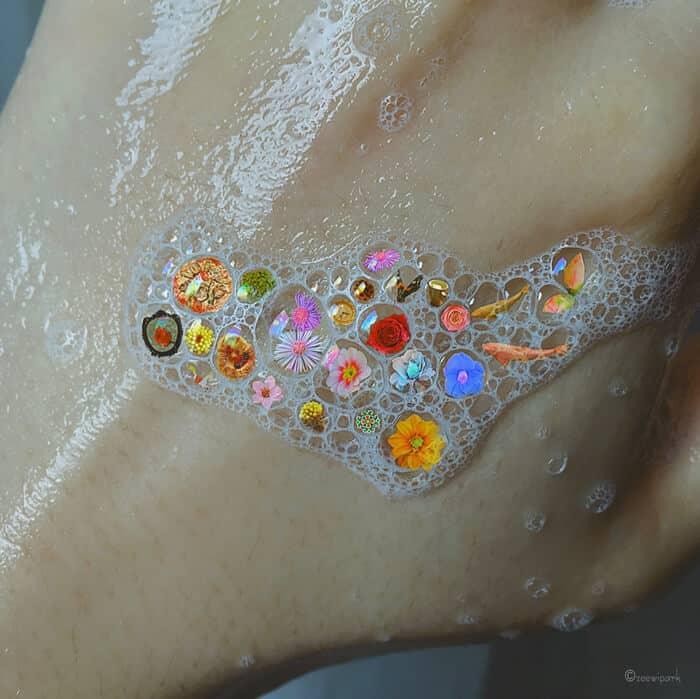 совмещение мыльных пузырей и цветов, фото 18