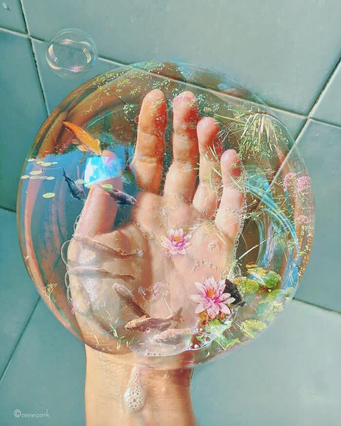 совмещение мыльных пузырей и цветов, фото 2