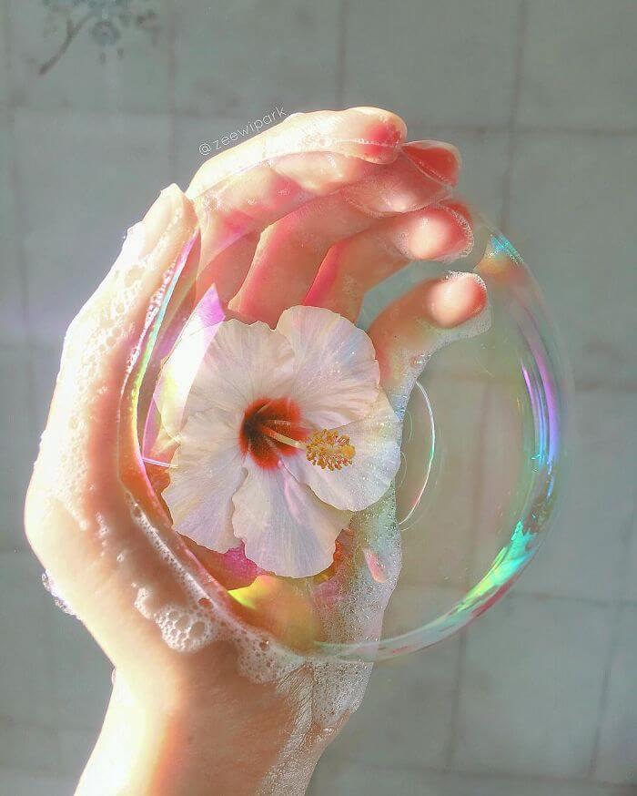 совмещение мыльных пузырей и цветов, фото 3