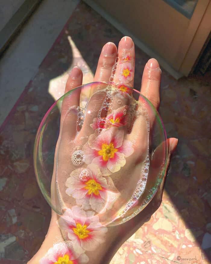 совмещение мыльных пузырей и цветов, фото 6