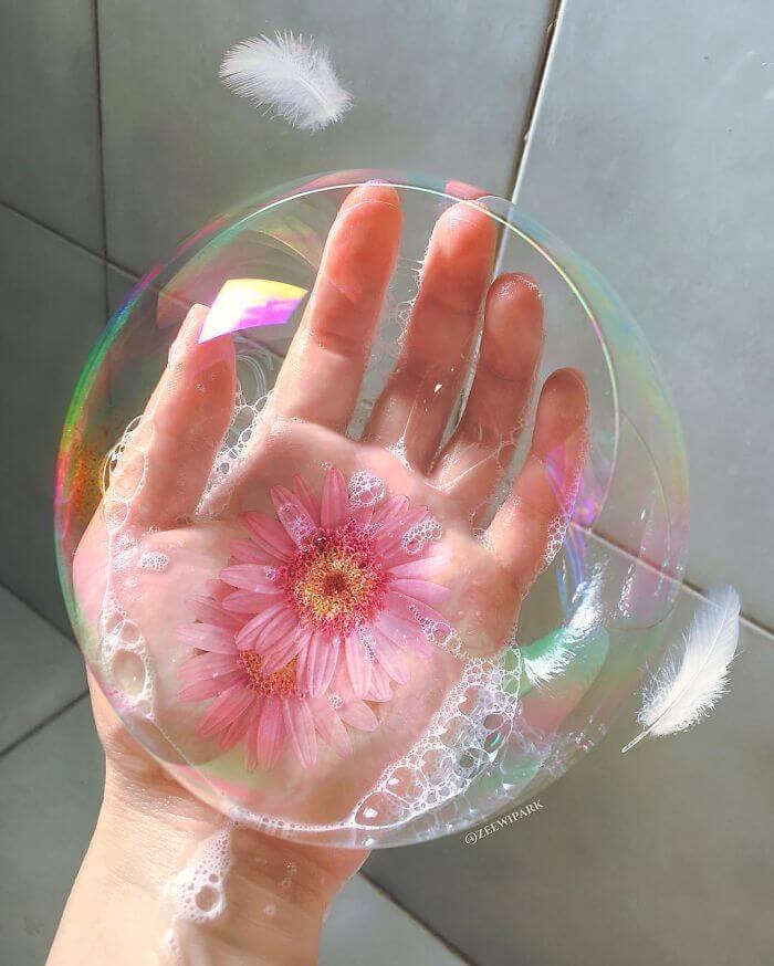 совмещение мыльных пузырей и цветов, фото 9