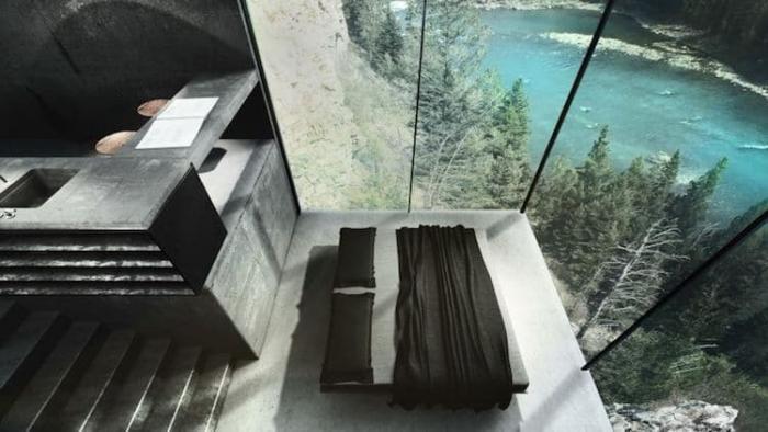 Уникальный дом на скале над бурлящей горной рекой