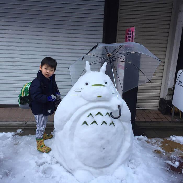 снегопад в Токио, японские снеговики, Фото 1