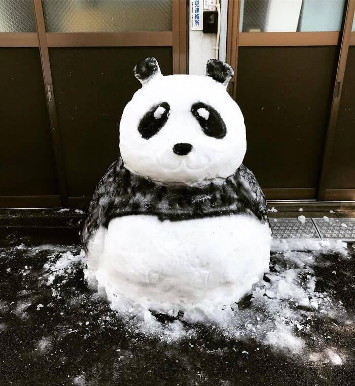 снегопад в Токио, японские снеговики, Фото 10