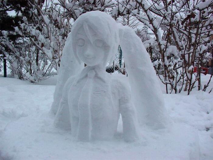 снегопад в Токио, японские снеговики, Фото 11