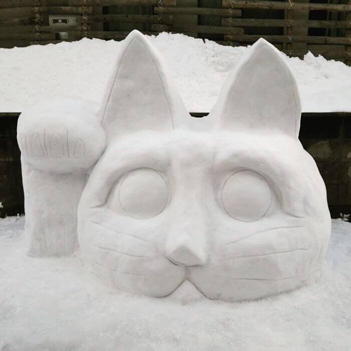 снегопад в Токио, японские снеговики, Фото 12
