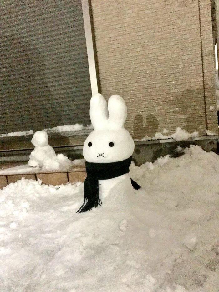 снегопад в Токио, японские снеговики, Фото 17
