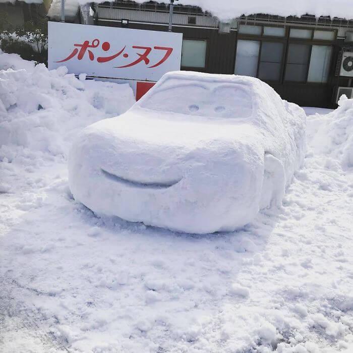 снегопад в Токио, японские снеговики, Фото 19