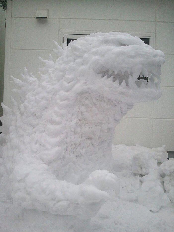 снегопад в Токио, японские снеговики, Фото 2