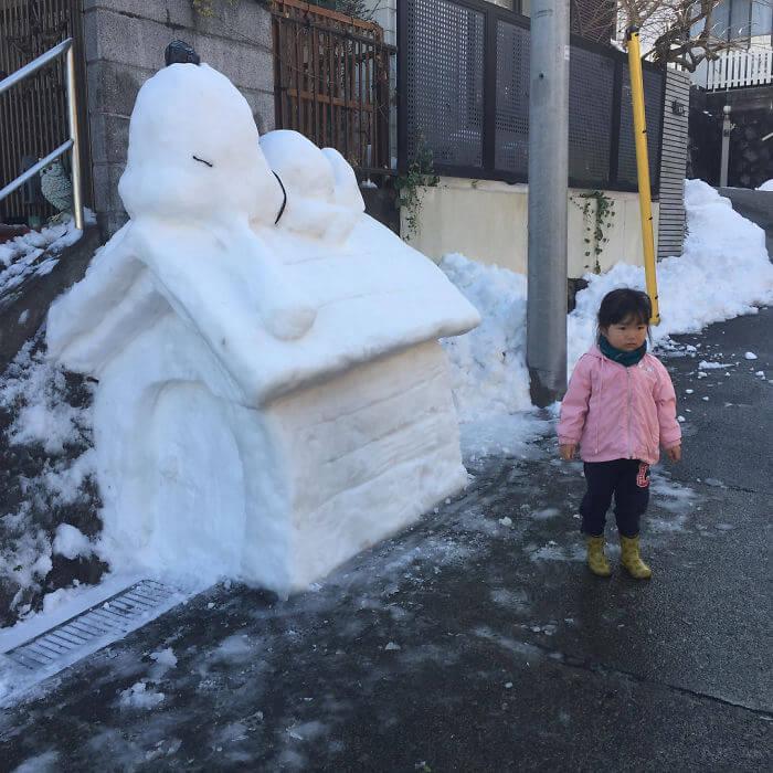 снегопад в Токио, японские снеговики, Фото 3