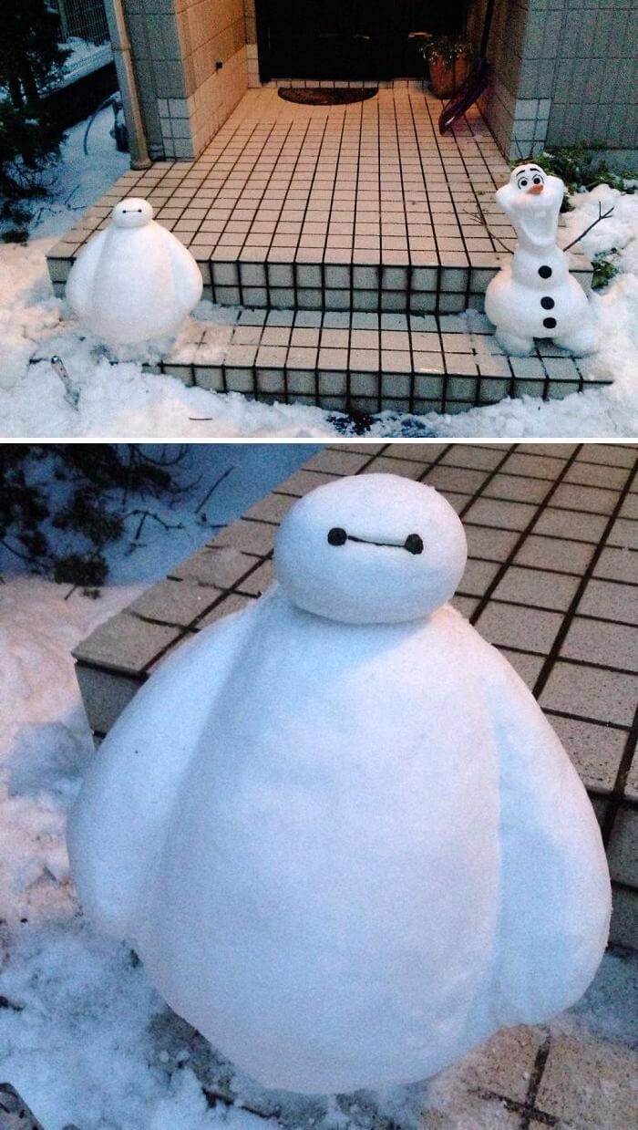 снегопад в Токио, японские снеговики, Фото 5