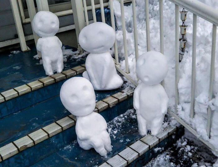 снегопад в Токио, японские снеговики, Фото 8