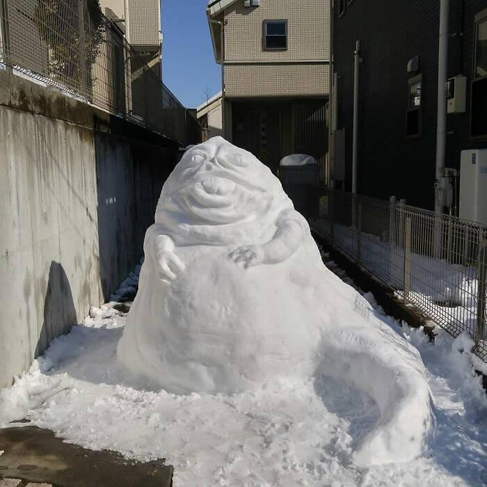 снегопад в Токио, японские снеговики, Фото 9